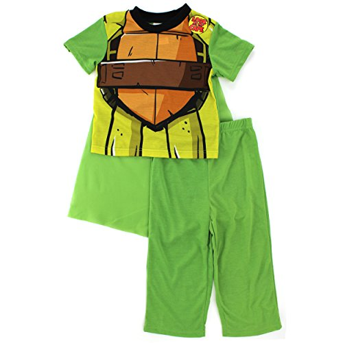 TMNT Ninja Turtles Boys Green Poly Pajamas with Cape