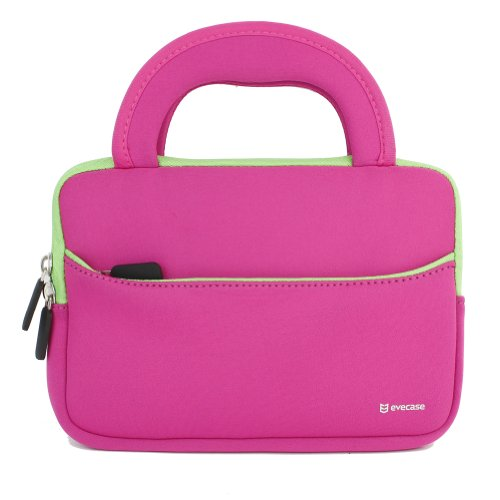 Evecase® 7 ~ 8 Inch Tablet Ultra-Portable Neoprene Zipper Carrying Sleeve Case Bag With Accessory Pocket - Hot Pink / Green front-590501