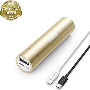 [Apple MFi Certified] Anker 2nd Gen Astro Mini 3200mAh Portable Charger with PowerIQ Technology (Golden) + 3ft / 0.9m Lightning Cable for iPhone 6 Plus / 5, iPad 4 / Air / mini / mini 2 and iPod touch (White) by Anker