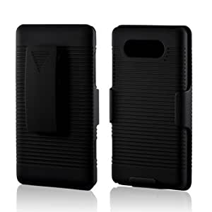 Lumia 820 Case, [Black] Supreme Protection Rubberized Plastic on Silicone Dual Layer Hybrid Case with Holster & Belt Clip for Nokia Lumia 820