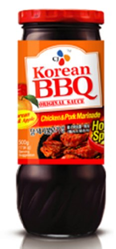 Cj Korean BBQ Chicken & Pork Marinade Sauce (Hot & Spicy) 17.63Oz (4 Pack)