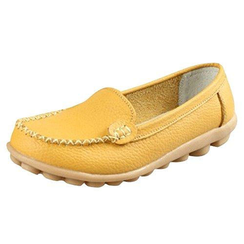Minetom Donne Scarpe Basse Piatte di Ecopelle Pantofole Semplici Comode scarpe casual scarpe da guida ( Giallo EU 36 )