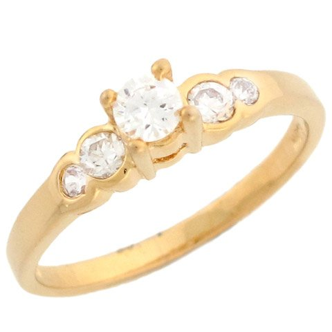 14k Yellow Gold Pretty Round CZ Engagement Ring With Round Side Stones