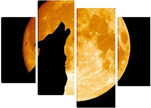 a-wolf-howling-over-a-full-moon-canvas-art-4-split-panel-design-71cm-x-101cm-free-hanging-kit-includ
