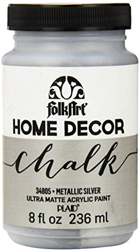FolkArt Home Decor Chalk Furniture & Craft Paint in Assorted Colors (8 Ounce), 34805 Metallic Silver