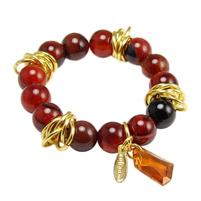 Jewelry Handcrafted By Calinana. Rounds of Carnelian Stretch Bracelet. Strut Yourself this summer with this eassy Carnelian Chunky Bracelet. Large Gold Rings and Large Swarovski Crystal Add Glimmer to the Design. Goes Perfectly with your Speical Party Dress. Great Gift For: Bat Mitzvah Shabbat Passover Wedding Mother's Day Birthday Valentine Anniversary Bridesmaid Graduation and Other Jewish Occasions