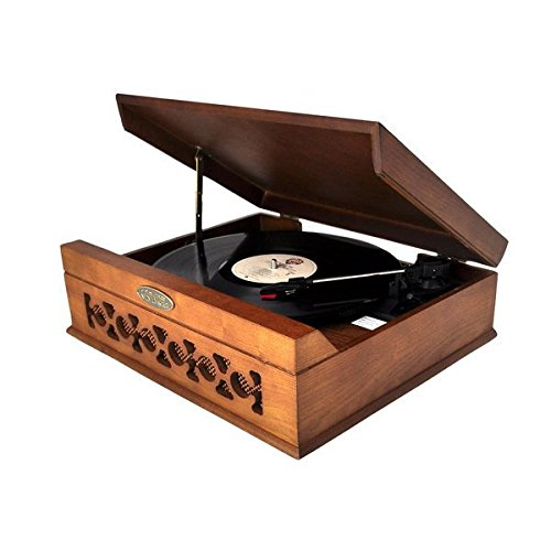 Pyle Home PVNTT6UMT Vintage Style Phonograph/Turntable with USB-To-PC Connection (Dark Maple) 0