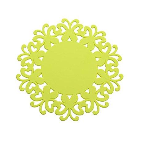 YOKIRIN PVC Untersetzer aus Filz für Tisch und Bar als Glasuntersetzer / Getränkeuntersetzer für Glas und Gläser Tischsets- Gelb (Size:Large,Durchmesser:19CM)