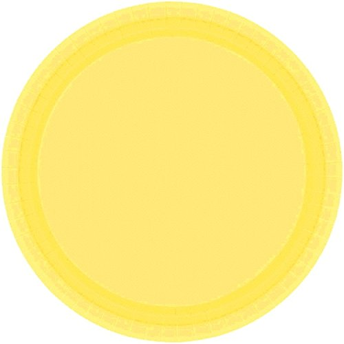 "Amscan Light Yellow Birthday Party Round Paper Plates, 7"", Yellow - 1"