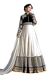 Shoppingover Indian Ethanic Anarkali Suit Georgette Fabric-Off-white Color