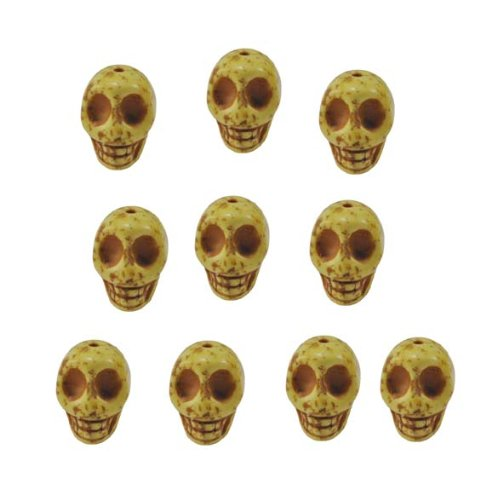 Yellow Magnesite Dyed Gemstone Beads Carved Skull Beads, 14 X 10mm (10 Per Set)