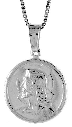 Sterling Silver Jesus Medal, Made in Italy. 3/4 (18 mm) in Diameter.