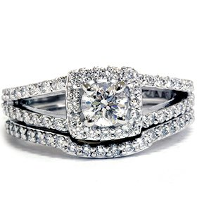1.20CT Pave Halo Split Shank Diamond Ring Set 14K White Gold