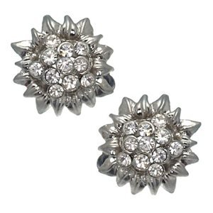 Patina Silver Crystal Clip On Earrings