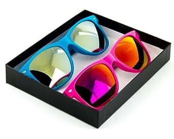Fashion Eyewear Wayfarer Style Multi-Color Sunglasses (Blue and Pink)