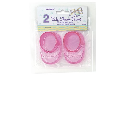 Pink Plastic Baby Boots (2 count)