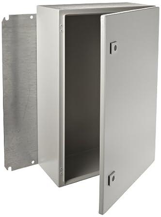 """Rittal 8017545 Light Grey 16 Gauge Steel Single Door Hinge Cover Wallmount Enclosure, 16"""" Width x 24"""" Height x 8"""" Depth"""