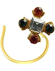 Colourful Nose Pin Antique Gold Plated Silver Pin For Women