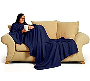 Snug~Rug 60 x 84-inch Adult Deluxe Coral The Blanket with Sleeves Fleece, Navy Blue