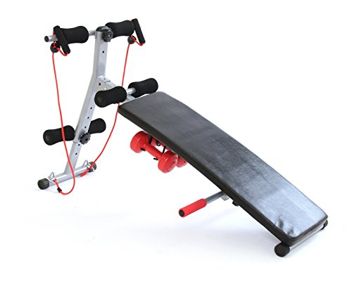 Gym Master Folding Adjustable SIT UP Bench Power Ropes and Dumbbells Set...