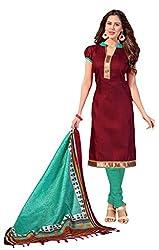 Suchi Fashion Maroon & Turquoise Bhagalpuri Dress Material