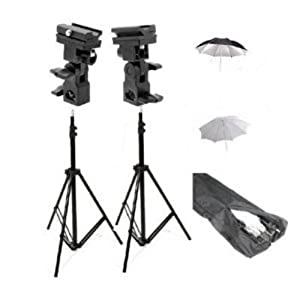 ePhoto UB4 Double Off Camera Flash Kit with Carrying Bag with 2 each of 7 Foot Stands with Brackets, 33-Inch Reflector Umbrellas and 32-Inch White Umbrellas