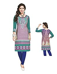 PShopee Green Cotton Printed Unstitched Kurti/Top Material