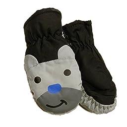Aquarius Toddler Boys Black & Gray Bear Waterproof Snow & Ski Mittens