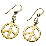 Delicate Peace Symbol Gold-dipped Earrings on French Hooks