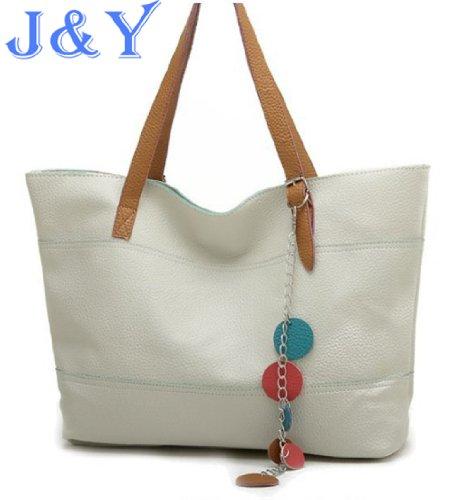 J&Y 2013 New Style PU Leather Women Shoulder Bags Rivet Studded Tote Handbag Beige