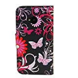 (TRAIT) Black Back Butterfly PU Leather Wallet Cases Protective Skin Protector Covers for HTC One M7 Flip Case Folio Cover Stand Holder with Card Port