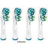 (GEK®) 4x DUAL CLEAN Electric Toothbrush Replacement Heads For oral B