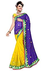 Radhe Krishna Creation Georgette Yellow purple designer saree