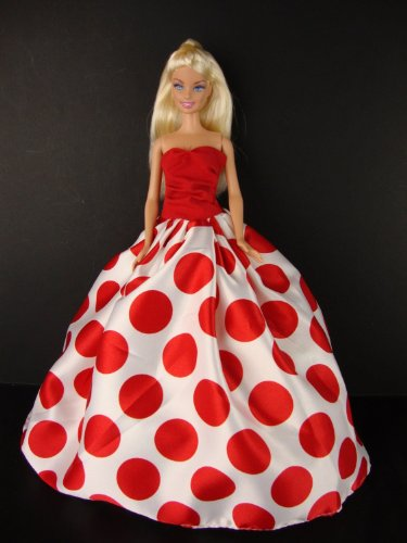 A Really Fun Red and White Polka Dot Gown Made to Fit the Barbie Doll