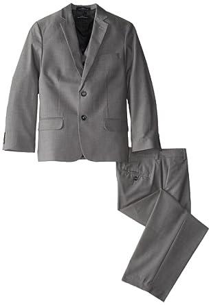 Calvin Klein Dress Up Big Boys' Husky Pindot Vested Suit, Dark Grey, 18