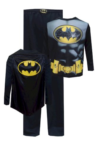 Dc Comics Batman Cracked Logo Toddler Pajama With Cape For Boys (3T) back-867154