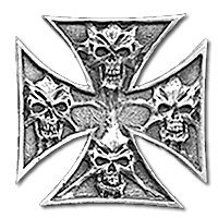 Iron cross of skulls leather jacket vest, biker pin