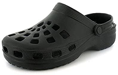 New Mens/Gents Black Slip On Mule Clog Style Sandals With Back Strap. - Black - UK SIZE 6