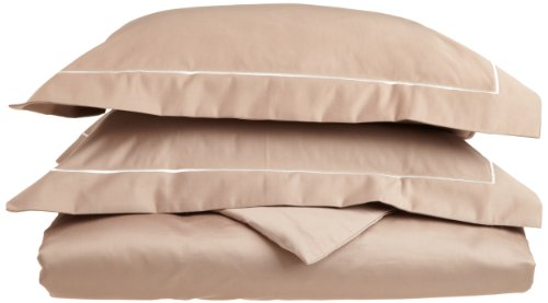 Egyptian Cotton 1600 Thread Count King/California King Duvet Cover Set Solid, Taupe With Ivory Trim front-533748