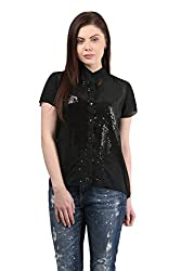 Mayra Women's Georgette Shirt (1512T11171_S, Black )