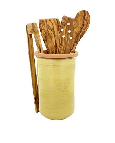 COLI 5-Piece Stoneware & Olive Wood Utensil Set, Saffron Yellow