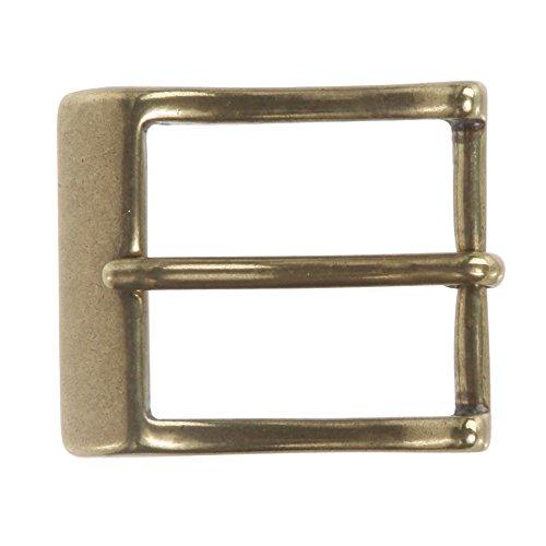 "1 1/4"" (33 mm) Single Prong Solid Brass Rectangular Belt Buckle Color: Antique Brass"