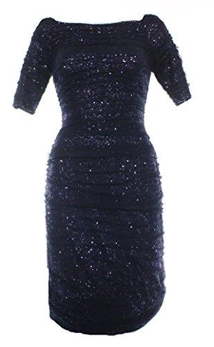 Lauren Ralph Lauren Navy Sequin Mesh Women'S Sheath Dress Blue 6