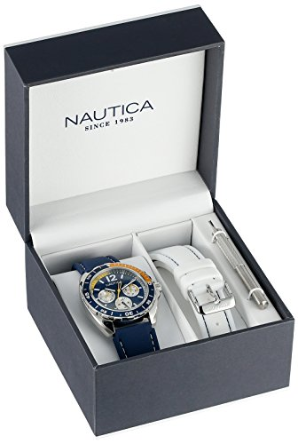 Nautica Men's N09915G Sport Ring Multifunction Stainless Steel Watch With Two Interchangable Resin Bands