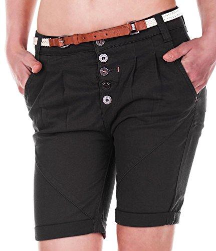 Sublevel Damen Chino Shorts Bermuda mit Gürtel, boyfriend LSL-144 D6055Z60379ZALE darkgrey M