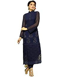 Zbuy Dark Blue Georgette Embroidered Unstitched Salwar Suit Dress Material
