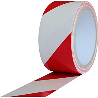 """ProTapes Pro 48 PVC Vinyl Safety Stripes Tape, 18 yds Length x 2"""" Width, 6 mils Thick, Red/White (Pack of 1)"""