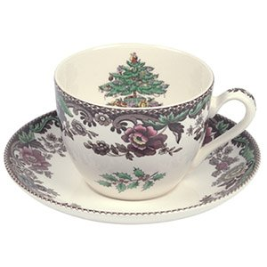 Spode Christmas Tree Grove Teacup  and Saucer, Set of 4