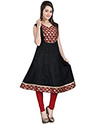 Lookslady Skin Friendly Black Sleeveless Plain Solid Cotton Casual Wear Long Designer Ready Made Kurta For Girls...