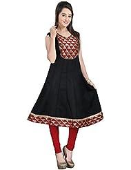 Lookslady Skin Friendly Black Sleeveless Plain Solid Cotton Casual Wear Long Designer Ready Made Kurta For Girls...